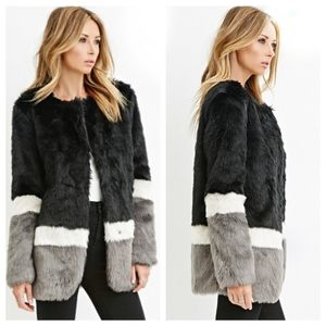 Forever 21 Faux Fur Coat Black Gray Cream Blocked